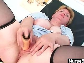 unpretty chunky older toys herself with gyno