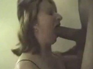 Slut wife sucking big black cock swallows his cum