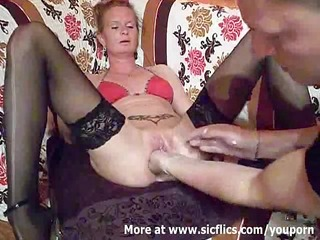 fist fucking the wifes giant vagina till she is