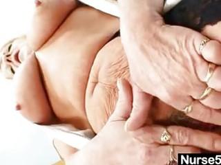 grandma in uniform spreads blond hirsute slit
