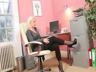 neverseen blonde woman in office