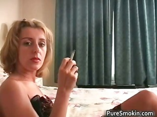 thrilling blond foxy smokin a sigarette part0