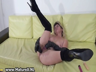 bawdy golden-haired non-professional housewife