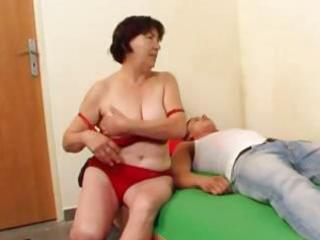 busty, chubby dark brown granny eats his rod and