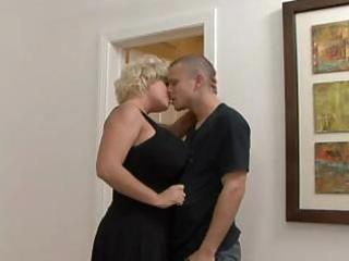 breasty golden-haired mother i in stockings fucks