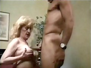 granny hot fucked in bed, with red high heels