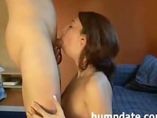 pleasing milf deepthroats cock and gets defaced