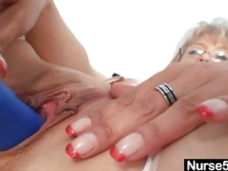 immodest old mama in nurse uniform wild