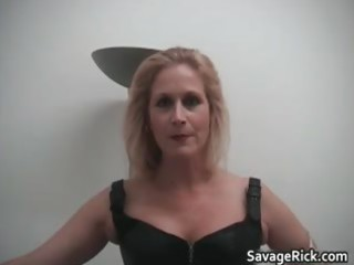 hot black leather golden-haired milf babe