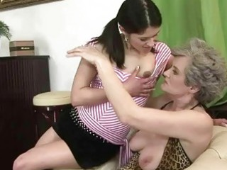 breasty granny copulates young girl