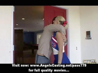 cute cheerleader exercising and flashing pants