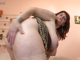 large titted mother acquires her snatch wet