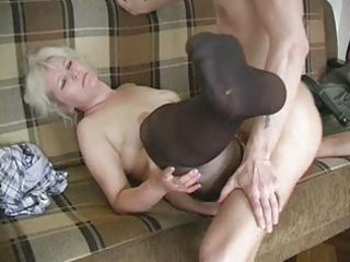 aged blond in nylons bonks the lad