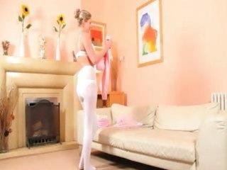 hawt mamma in white pantyhose undress