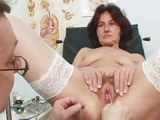 unshaved pussy grandma visits pervy woman doctor