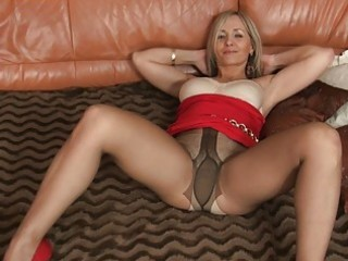 blond mother i in hot constricted suit and hose