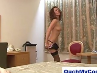 horny mature lady gives cheeky lad a harsh handjob