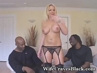 blond wife engulfs two dark studs