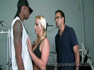 excited blonde milf teases a large black stud in