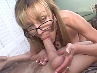 older busty golden-haired sucks big pecker