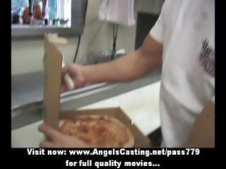 sexy blond d like to fuck does blowjob for pizza