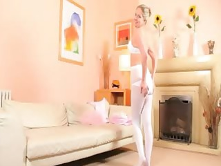 hot mamma in white pantyhose tease
