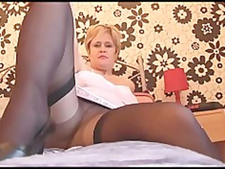 breasty aged hottie in hose stockings and slide