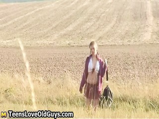 legal age teenager hotty on a hike outdoor