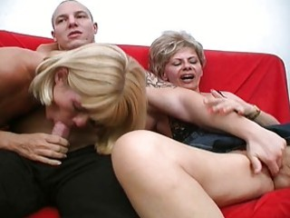 two crazy older harlots share one powerful penis