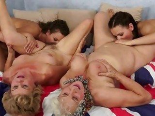 two grannies and nubiles enjoying sexy sex