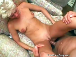 hot blond milf acquires her final gangbang