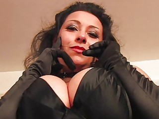 Provocative brunette milf in sexy lingerie and