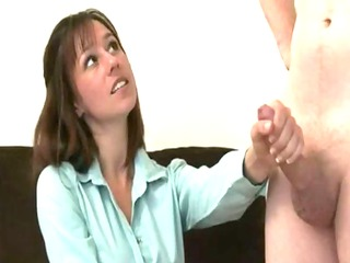 CFNM milf wanking off a stiff cock