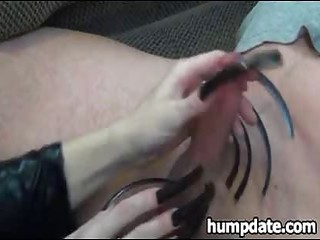 wife gives teasing handjob with lengthy