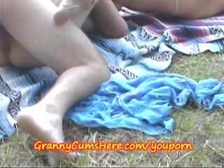 grannies and a co-ed have outdoor fun