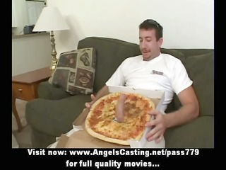 sexy bored golden-haired does blowjob for pizza
