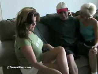 older blonde helps a juvenile pair and shows em