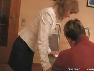 sexy german mom teaches boy