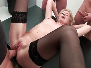 hawt granny taking 10 ramrods in face hole arse