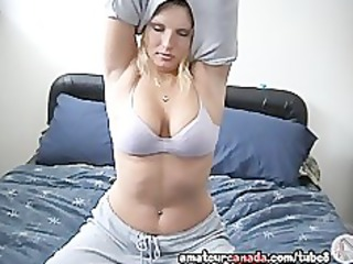 busty large naturals golden-haired wife fingers