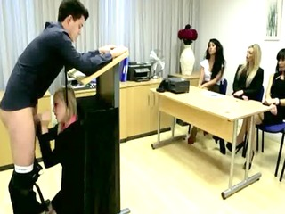 cfnm office blowjob infront of the group of milfs