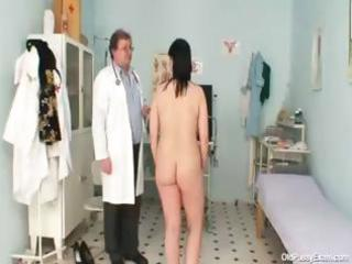 wicked gyno doctor examines the bushy snatch of