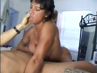 breasty wife gives great cook jerking and titty