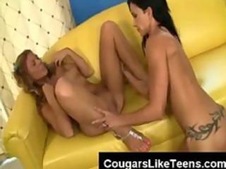 large pantoons dark brown lesbo slut licks a very