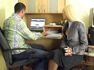 older golden-haired secretary gives group blowjobs