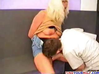 golden-haired russian mama eats his youthful cock