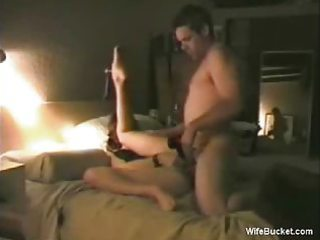 wife rotates a large dildo and a glad cock