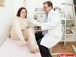 unshaved grandma enema during a medical exam