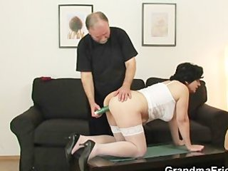 granny receives her unshaved hole filled with