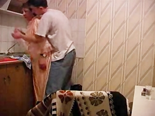granny gets drilled in kitchen